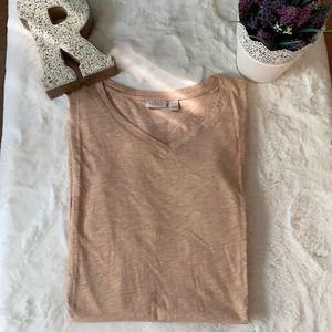 LOGO by Lori Goldstein Tan V-Neck Tunic Tee Shirt